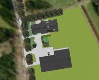 bovenaanzicht van het perceel, met verbouwde boerderij-woning en nieuwe schuur.