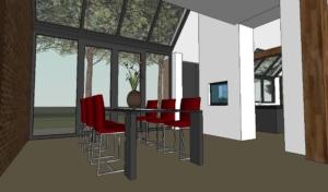 eetkamer met grote glaspui doorlopend in het dak